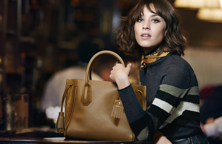 Alexa Chung, Longchamp, natural makeup